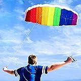 YUDIAN Rainbow Kite Cometa acrobática Grande de Doble línea con Mango para niños y Adultos Cometas Coloridas Surf al Aire Libre Diversión en la Playa Juguete Deportivo con Juego de Herramientas Vol