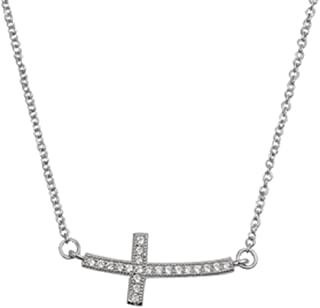 New .925 Sterling Silver Sideways Cross Cubic Zironia Necklace 16