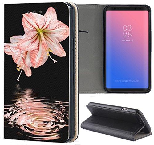 Handyhülle für Samsung Galaxy A3 2016 Premium Smart Einseitig Flipcover Flip Case Hülle Samsung A3 2016 Motiv (1033 Lilie Pink Rosa Blume)
