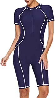 GAGA Women Boho One Piece Front Zipper Stripe Bodycon One Piece Swimsuits