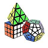 lunaoo Speed Cube Set Magic Cube 3 Piezas 3x3 Pyraminx Megaminx, Cubo Magico Puzzle 3D Rompecabezas Regalos de Juguetes para Niños y Adultos