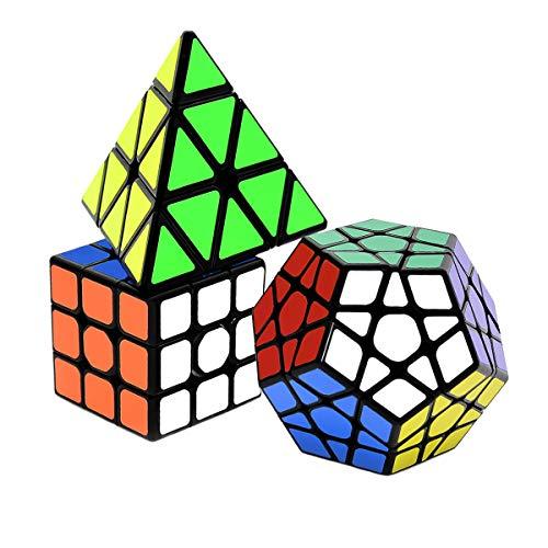 lunaoo Magic Cube 3 Pack 3x3 Pyraminx Megaminx, Speed Cube Rompicapo Cubo Magico Speedcube Giocattoli Regalo per Bambini Adulti