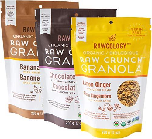 Rawcology | 3 pack Granola croccanti al limone, banana, cioccolato | 100% Organico & Naturale | Granola Healthy | Senza zuccheri aggiunti, Senza glutine, Paleo | 200g | Granola Bio dimagrante