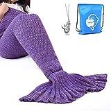 LAGHCAT Mermaid Tail Blanket Crochet Mermaid Blanket for Adult, Soft All Seasons Snuggle Mermaid Sleeping Bag Blankets, Classic Pattern, (71'x35.5', Purple)