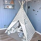 Tipi Zelt für Kinder - Kinderzimmer Spielzelt - drinnen draußen Segeltuch Kinderzelt Indianer...