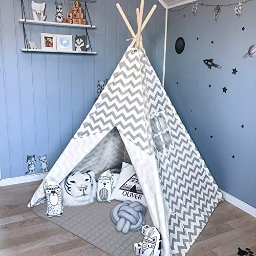 Tiny Land Teepee Tent for Kids with Padded Mat- Play Tent for Boy Girl Indoor & Outdoor, Gray...