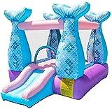 Vivid Castillo Inflable para el hogar Casa de Castillo de la Sirena de la Sirena con la Diapositiva y el soplador de Aire para la Fiesta de los niños, 280x215x195cm