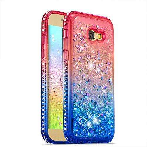 HMTECH Galaxy A5 2017 Funda Bling Glitter Rosado Azul Líquido Silicona Suave TPU Gel Bumper Transparente Amortiguación Case para Samsung Galaxy A5 2017,Pink Blue Liquid TPU