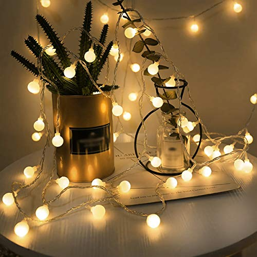 Guirnaldas Cadena de Luces LED USB, LOHAS Decoracion Interior, 5 Metros con 40 Bombillas, Luces Decorativas Blanco Caliente, Ideal para Fiesta, Decoraciones de Dormitorio, Pared, Navidad, Boda