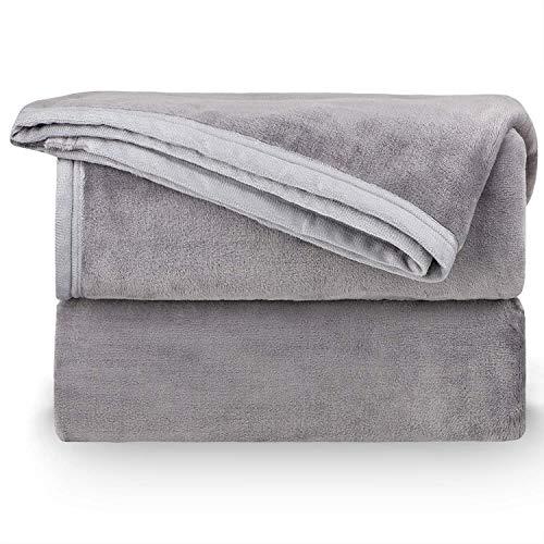 NEUFLY Decke, Flannel Blanket Wohndecke 150 x 200 cm Couchdecke Warme Kuscheldecke für Bett und Sofa - Graue