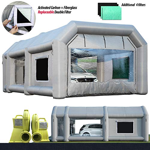 Inflatable Paint Booth 26x15x10Ft(8x4.5x3m) with 2 Blowers Sewinfla Inflatable Spray Booth Portable Car Painting Booth Tent for Car Garage Upgrade More Durable, Additional 4 Pieces Filters for Free