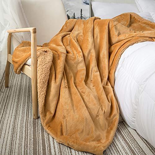 SANJIANG Manta De Lana De Doble Capa Mantas Grandes De Franela Suave para Cama Doble Manta De Microfibra para Sofá para Sillas/Cama/Oficina - Ropa De Cama Exquisita,Camel-180 * 200cm