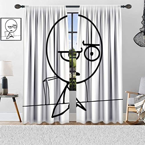 Yahonwa Humor Curtains, So What Guy Meme Face Best Avatar WTF Icon Hipster Mascot Snobby Sign Picture Window Covering 2 Panels Set, 72' W x 72' L Black and White