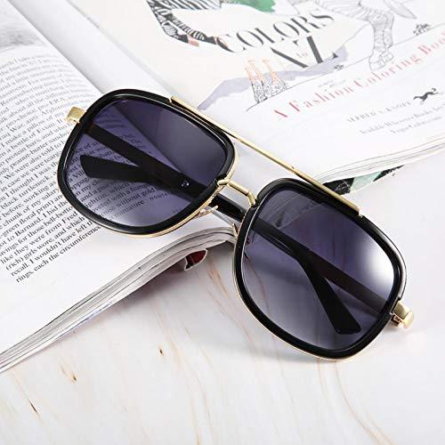 Gafas de sol vintage con lentes transparentes resistentes al desgaste, plástico de calidad + resina, para la familia, para la(Bright black double gray)