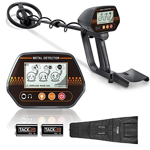 TACKLIFE Metalldetektor, Hochempfindliches Metallsuchgerät,80-105cm Höhenverstellbare Sonde,mit wasserdichte Suchspule IP66,LCD-Anzeige mit Hintergrundbeleuchtung,Tragetasche, 2x9V Batterien - MMD02
