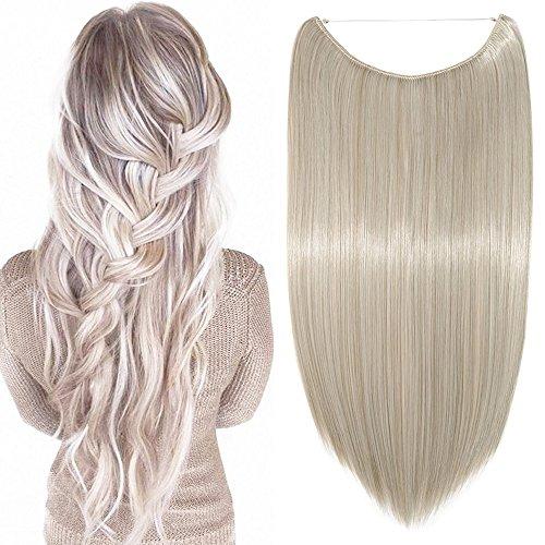Haarteil Extensions 1 Tresse günstig Haarverlängerung Synthetische mit Draht Haarextensions für Haarverdichtung Glatt Hair 20