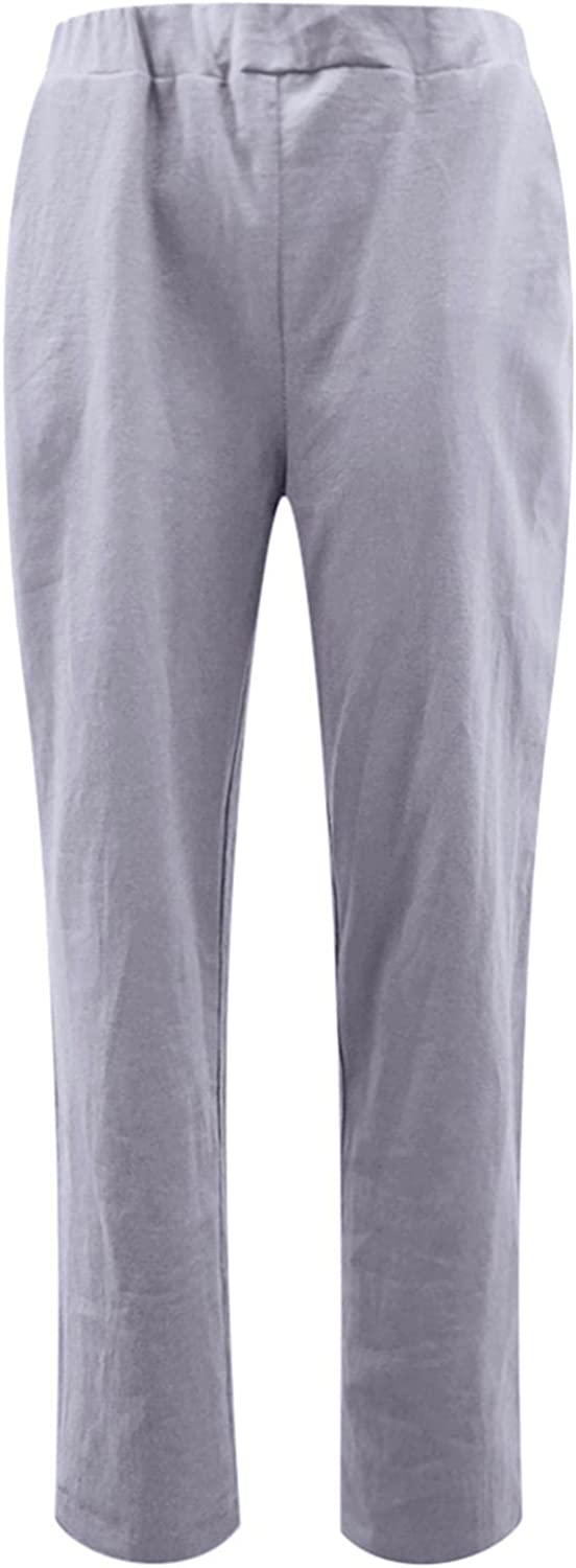 LEIYAN Womens Linen Cropped Pants Casual Stretch Waist Relaxed Fit Yoga Pants Active Outdoor Workout Trousers Joggers
