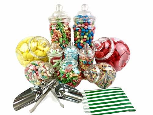 Top Star Vintage Victorian Pick & Mix Candy Buffet Kit–Confezione da 10vasetti con Strisce Borse Green