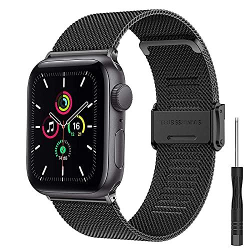Hatolove Correas para Correa Apple Watch 44mm 42mm 40mm 38mm, Pulsera de Metal de Acero Inoxidable Compatible con Apple Watch SE / iWatch Series 6 Series 5 Series 4 Series 3/2/1