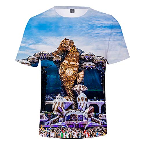 CCTXUE Magliette T-Shirts Stampa 3D Uomo Donna Neutro Tops Poliestere/Cotone Rapida Asciugatura Rapida Ventilazione Soft Casual Maniche Corte Girocollo Tomorrowland S