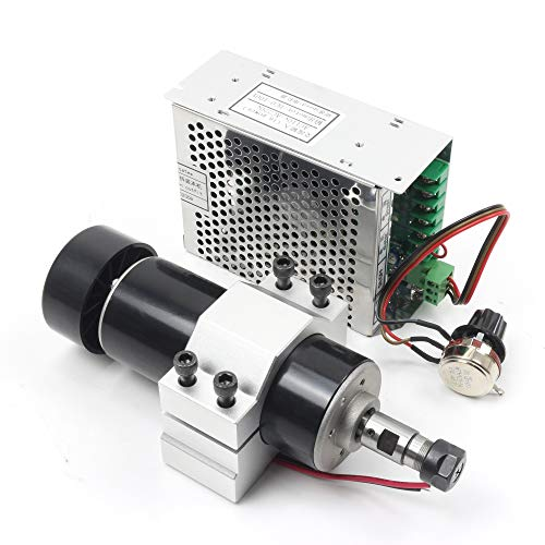 RATTMMOTOR 500 W Kit motore mandrino raffreddato ad aria, 0,5 kW ER11 12000 giri min, mini motore mandrino e regolatore di velocità PWM 220 V e supporto da 52 mm con viti per fresatrice CNC