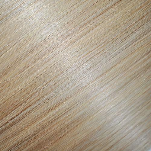 Extensiones de cabello de lujo, trama cuádruple, cabeza completa, cabello humano remy suave (#60/22 – Rubio claro con reflejos reales)