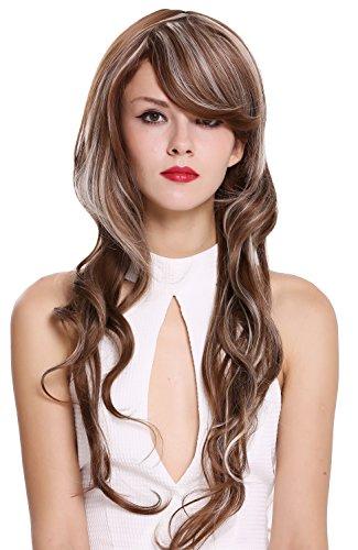 WIG ME UP - 010-10H613 Perruque dame très longue légèrement ondulée raie brune mèches blond platine