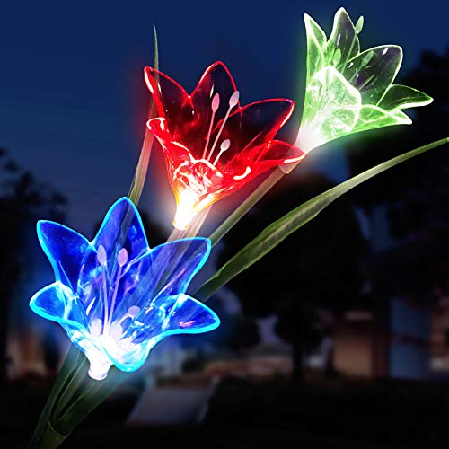 Luces Solares flores, LED Luz Solar 3 lirio Flores 7 Variaciones de Color Impermeable, Ideal...