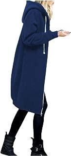 OverDose Damen Herbst Winter Outing Stil Frauen Warm Reißverschluss Öffnen Clubbing Dating Elegante Hoodies Sweatshirt Langen Mantel Jacke Tops Outwear Hoodie Outwear Kapuzenpullover