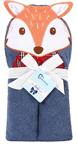 Be Mammy Asciugamano con Cappuccio 100% Cotone Neonato e Bimbo 95cm x 95cm BE20-272-BBL (Blu Marino - Volpe)