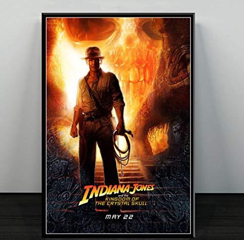 DIANFANBAO Indiana Jones Classic Movie Series Kunstplakat Leinwand Malerei Wandbild Wohnkultur Poster und Drucke 50 * 70cm ohne Rahmen