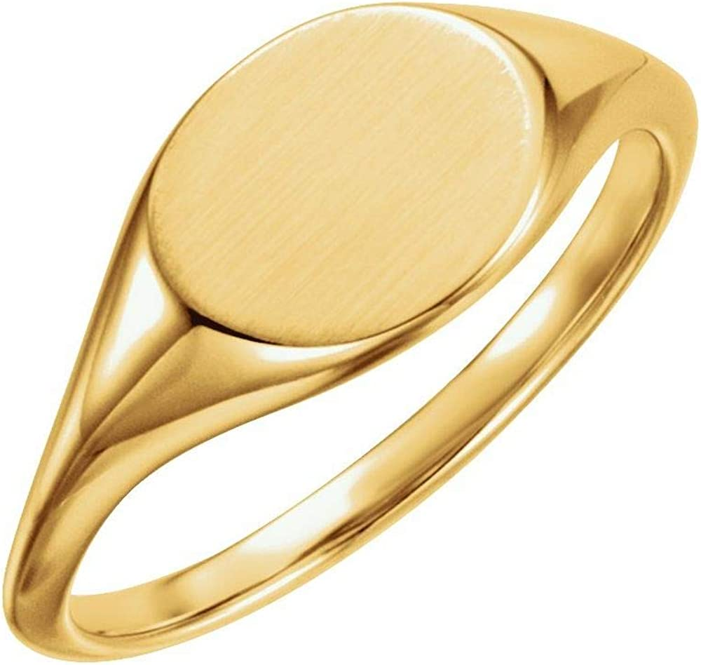 Solid 14k Yellow Gold 11x9mm Band Ring Fashionable Oval Max 65% OFF Engravable Signet