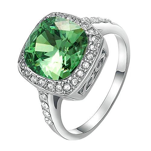 Yoursfs Smaragd Kristall Kleid Ringe für Damen/Frauen & 18K Weißgold Überzogene Frauen Schmuck Tiefblau Ringe
