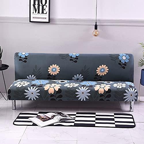 WXQY Sofabezug mit Blumendruck, Faltbarer Stretch-Sofabezug ohne Armlehnen, Faltbarer Sofabezug, Schlafsofabezug A19 4 Sitzer