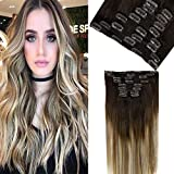 LaaVoo Clip in Hair Naturali Lisci Marrone Più Scuro Misto Marrone Medio con Bionda Legge...