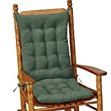 Collections Etc Quilted Chair Cushion Set - Perfect for Rocking Chairs, Dining Chairs or Armchair, Green