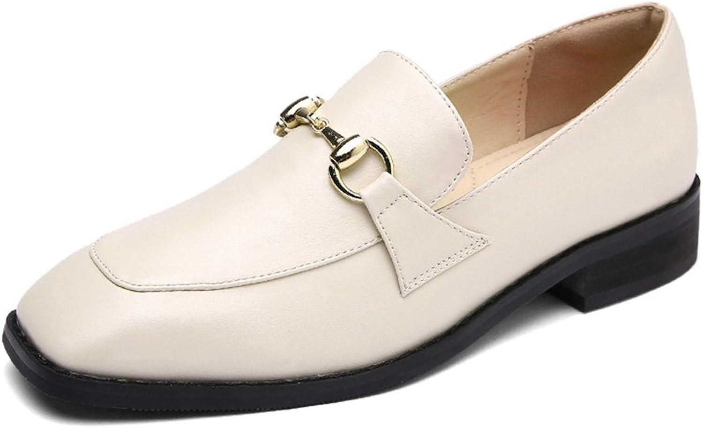 HWF Damenschuhe Frühling Quadrat Kopf Damenschuhe Britischen Stil Leder Freizeit Flache Schuhe Einzel Ein Pedal Faul Schuhe Weiblich ( Farbe   Beige , größe   36 )    Am praktischsten    Up-to-date-styling    Erlesene Materialien