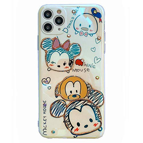 Max-ABC Compatible with iPhone 12 Pro Max Case Graffiti Minnie Mickey Mouse Head Bling Glitter Diamond Cute Cartoon Slim Soft TPU Protective Cover Case for iPhone 12 Pro Max 6.7''