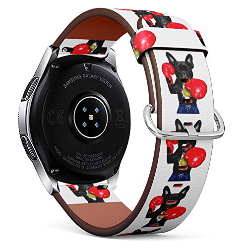 S-Type Replacement Leather Strap Printing Wristbands Compatible with Samsung Galaxy Watch 42mm 46mm Watch Band - Funny Boxing French Bulldog