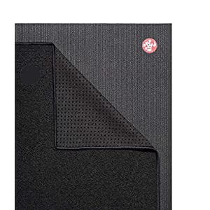 Yogitoes Manduka Yoga Towel for Mat Nonslip and Quick Dry for Hot Yoga with Rubber Bottom Grip Dots 68 Inch Long Onyx Thin and Lightweight