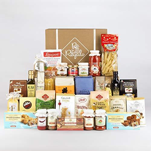 Re Regalo SPESA IN BOX Kit Degustazione 30 prodotti, Cesto alimentare, prodotti dolci e salati, specialità italiane, olio extravergine di oliva, pasta, sughi, caffè, biscotti, prodotti di qualità