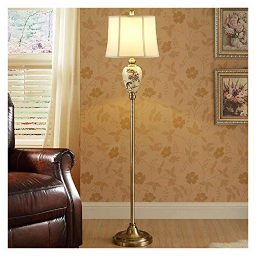 QQB Eye protection floor lamp Floor Lamp Creative Chinese Ceramic Art Design Fabric Lampshade Living Room Study Bedroom Lighting Reading Lamp Bedside Lamp Piano Lamp Equivalent grade【A++】