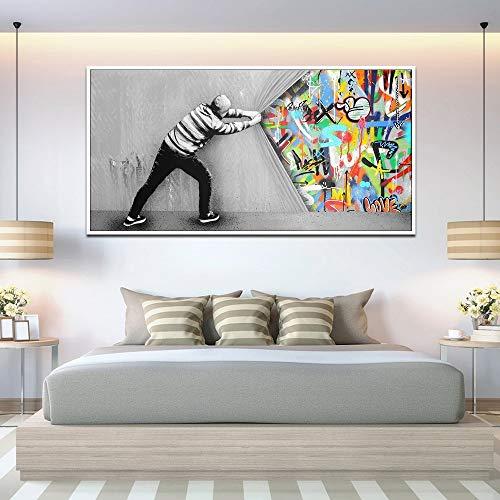 GJQFJBS Graffiti Art Wandbilder hinter dem Vorhang Street Art Leinwandbilder Wandplakate und für Wohnzimmer Dekor (Rahmenlos) A5 70X120CM