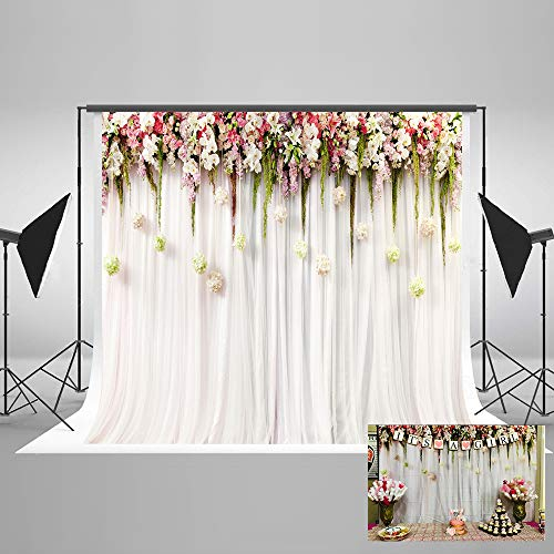 7(W)x5(H)ft Cotton Polyester Printed Flowers White Pink Curtain Wedding Ceremony Baby Shower Photography Backdrop No Creases Folding and Washable Photo Booth Background
