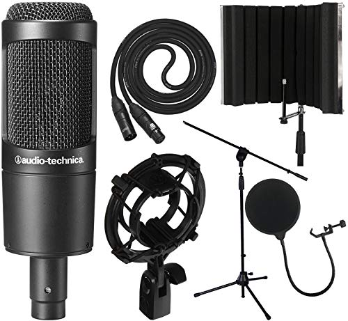 Audio-Technica AT2035 Cardioid Condenser Microphone with XLR Cable, Audio-Technica AT8458 Shockmount, Isolation Shield