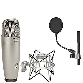 Samson C01U Pro USB Studio Condenser Microphone + Samson SP01 Spider Shockmount + On Stage 4 Inch Pop Filter