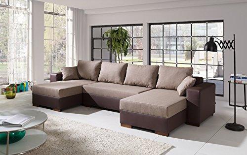 Sofa Couchgarnitur Couch Sofagarnitur Diego 3 U Polstergarnitur Polsterecke Wohnlandschaft mit Schlaffunktion (Kunstleder 33/Inari 33)
