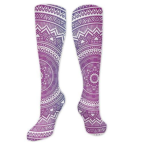 Calcetines de pollo, diseño de mandala floral con medallón de estrella étnico, bohemios, calcetines para mujeres y hombres, ideales para correr, atletismo, senderismo, viajes, vuelo