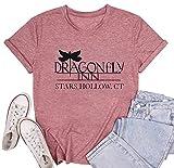 Dragonfly Inn Shirt for Women Gilmore Girls Shirt Inspired Letter Print Top Gilmore Girls Lover Gift Tee (Pink-1, S)