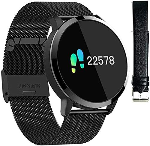 Reloj de pulsera para mujer, IP67, resistente al agua, reloj inteligente de sueño, frecuencia cardíaca, monitor de actividad de calorías, recordatorio de periodo, Bluetooth, negro y negro